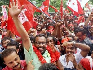 LDF supporters celebrating their victory in Assembly polls in Thiruvananthapuram