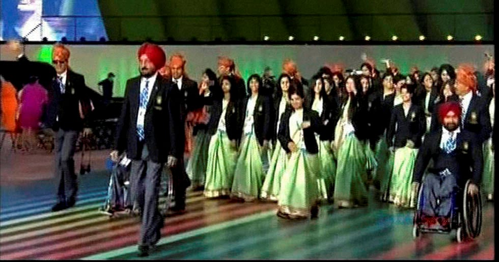 Indian squad, opening ceremony, 2014 Commonwealth Games, Glasgow, Scotland