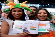 Indian fans ahead of the opening ceremony of Commonwealth Games in Glasgow Scotland