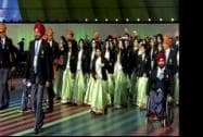 Indian squad during the opening ceremony of 2014 Commonwealth Games, at Glasgow