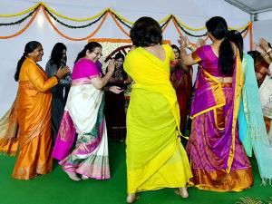 Lok Sabha Speaker Sumitra Mahajan alongwith Women MP's perform Garba dance during a cultural evening