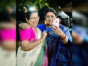 Union Minister for Textiles Smriti Irani take selfie with Lok Sabha Speaker Sumitra Mahajan during a cultural evening