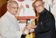 President Pranab Mukherjee presents Padma Bhushan to N Gopalaswami during Padma Awards 2015