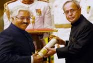 President Pranab Mukherjee presents Padma Bhushan to Ashok Seth during Padma Awards 2015