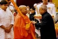 President Pranab Mukherjee presents Padma Vibhushan to Jagadguru Swami Rambhadracharya during Padma Awards 2015