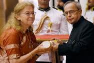 President Pranab Mukherjee presents Padma Shri to Indology scholar, Bettina Sharada Bäumer