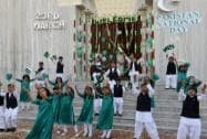 Children perform during the celebration of  75th Pakistan Day in New Delhi