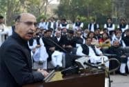 Pakistani High Commissioner to India Abdul Basit addresses during the celebration of the 75th Pakistan Day