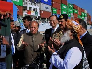 Nawaz Sharif and Army Chief General Raheel Sharif during a ceremony at Gwadar port