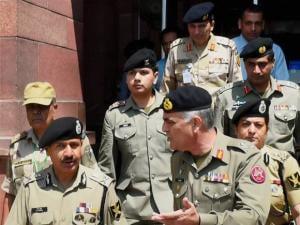 BSF Director General D K Pathak and Pakistani Rangers Director General, Umar Farooq Burki
