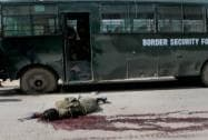 Dead body of a terrorist lies in pool of blood who had attacked a BSF convoy