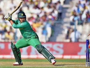Pakistani batsman Sharjeel Khan is clean bowled during ICC T20 World Cup match against Bangladesh at Eden Gardens in Kolkata