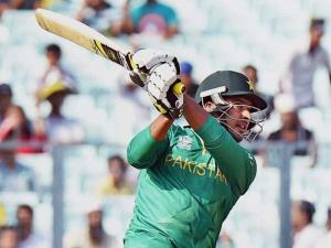 Pakistani batsman Sharjeel Khan plays a shot during ICC T20 World Cup match against Bangladesh at Eden Gardens in Kolkata