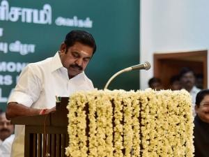 Palaniswami after taking the oath of secrecy administered by Governor CH Vidyasagar Rao