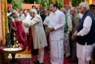 Vice President Mohd Hamid Ansari along with  L K Advani and Union Urban Development Minister M. Venkaiah Naidu pays tribute to Pandit Govind Ballabh Pant
