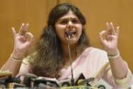 Pankaja Munde addresses a press meet to clarify her stand on the charges of corruption in Mumbai
