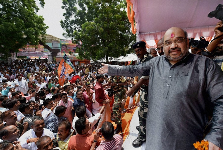 Party workers, give, grand, welcome, BJP National President, Amit Shah