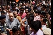BJP National President Amit Shah being welcomed by party workers