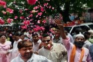 Party workers give a grand welcome to BJP National President Amit Shah