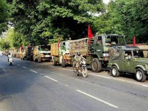 Army jawans conducts flag march in Ahmedabad
