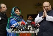 Amit Shah with PDP President Mehbooba Mufti  press conference regarding the alliance in J&K government