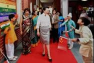 China's first lady Peng Liyuan arrives  at the Tagore International School