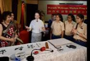 China's first lady Peng Liyuan during a visit to the Tagore International School