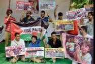 People holding a protest against Israeli attack on Gaza at Jantar Mantar in New Delhi