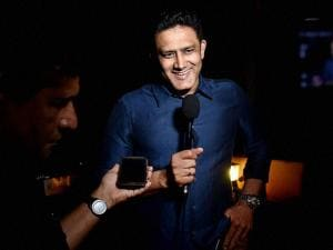 Newly appointed Indian Cricket Coach Anil Kumble speaks to media