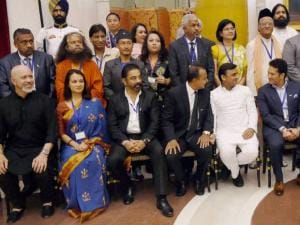 Pranab Mukherjee and Venkaiah Naidu with cricket legend Sachin Tendulkar, Anil Ambani, Akhilesh Yadav, Kamal Hassan