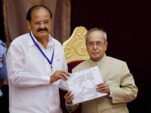 President Pranab Mukherjee and Union Parliamentary Affairs Minister M Venkaiah Naidu