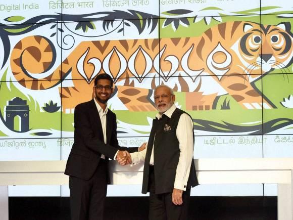 Prime Minister of India, Narendra Modi, Sundar Pichai, Google CEO, Mountain View, California
