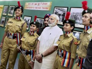 Prime Minister Narendra Modi poses with NCC cadets