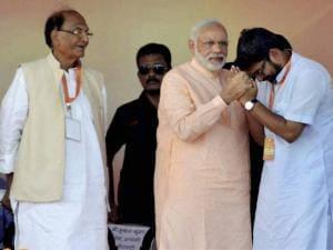 Prime Minister Narendra Modi with BJP leaders