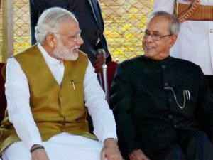 President Pranab Mukherjee with Prime Minister Narendra Modi