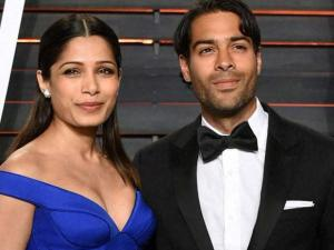 Freida Pinto, left, and Ronnie Bacardi arrive at the Vanity Fair Oscar Party