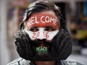 Mustache man Girdhar Vyas paints his face to welcome New Year 2016