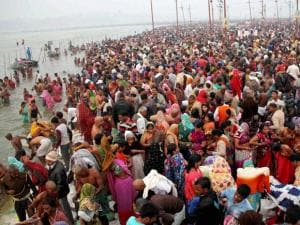 Devotees gather to take holy dip in Ganges on the occasion of Mauni Amavasya during Magh Mela festival in Allahabad
