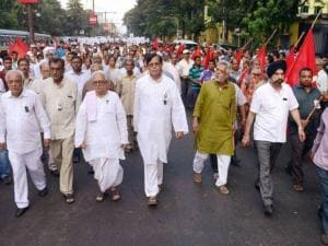 Chairman Biman Basu, CPI(M) leader Mohd Salim and Opposition leader