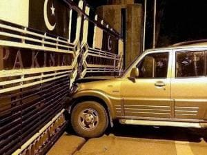 The Scorpio that damaged the international border gate at Attari land border