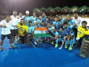 Indian Junior Men's Hockey Team  celebrating after winning 8th Junior Men's Asia Cup against Pakistan