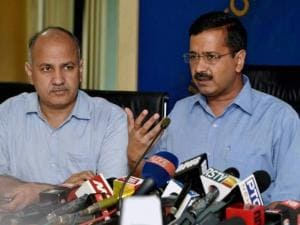 Delhi Chief Minister Arvind Kejriwal with Dy Chief Minister Manish Sisodia