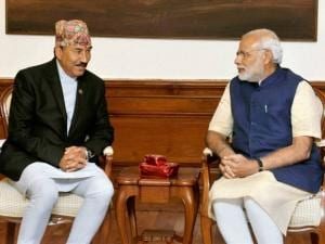 Narendra Modi with Nepal's Deputy Prime Minister and Foreign Minister Kamal Thapa