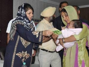PDP President Mehbooba Mufti during launch of Ladli Beti scheme in Jammu