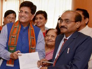 Union Power Minister Piyush Goyal filing his nomination papers for Rajya Sabha elections, at Maharashtra Vidhan Bhavan, Mumbai