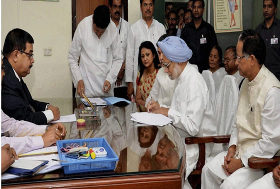 Prime Minister Manmohan Singh files his nomination papers for Rajya Sabha elections at Assam Legislative Assembly in Guwahati