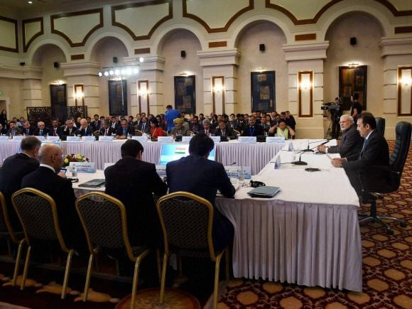 Prime Minister of India, Narendra Modi, Astana, Kazakhstan, Prime Minister of Kazakhstan, Karim Massimov, CEO, Business leaders, Essar Group, GMR, BHEL, NASSCOM, Punjab National Bank, FICCI, Lupin, Punj Llyod, SUN Group
