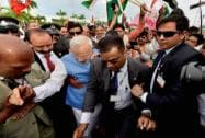 Prime Minister Narendra Modi during  his arrival at Sir Seewoosagur Ramgoolam Airport