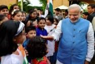 Prime Minister Narendra Modi meets children at his hotel  in Port Louis