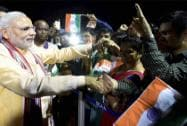 Prime Minister Narendra Modi greets people of Indian community upon his arrival at Mahe